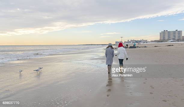 two tennager girls walking at the beach - alex potemkin or krakozawr stock pictures, royalty-free photos & images