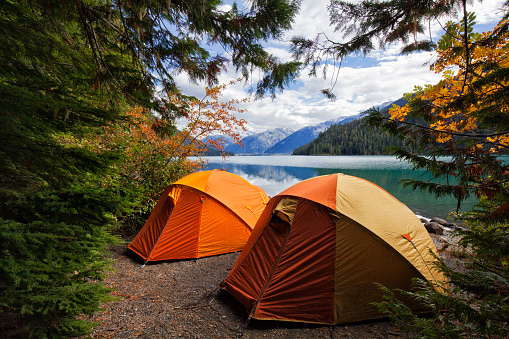 Two tents at Cheakamus Lake in autumn, BC, Canada 1046288666