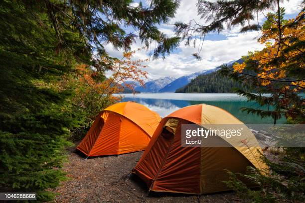 two tents at cheakamus lake in autumn, bc, canada - camping stock photos and pictures
