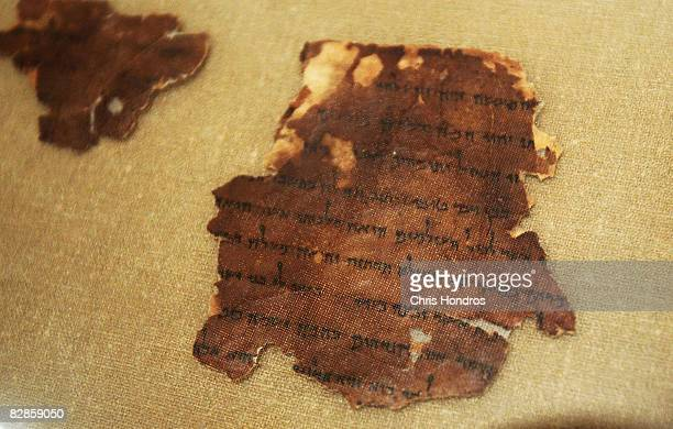 A two thousandyearold fragment of the The Book of Tobit from the Dead Sea Scrolls is seen on display at The Jewish Museum September 17 2008 in New...
