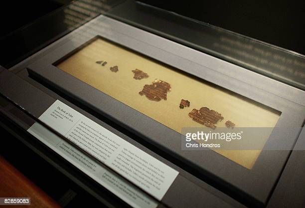 Two thousand-year-old fragment of the The Book of Tobit from the Dead Sea Scrolls is seen on display at The Jewish Museum September 17, 2008 in New...