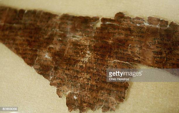 A two thousandyearold fragment of the The Words of the Luminaries from the Dead Sea Scrolls is seen on display at The Jewish Museum September 17 2008...