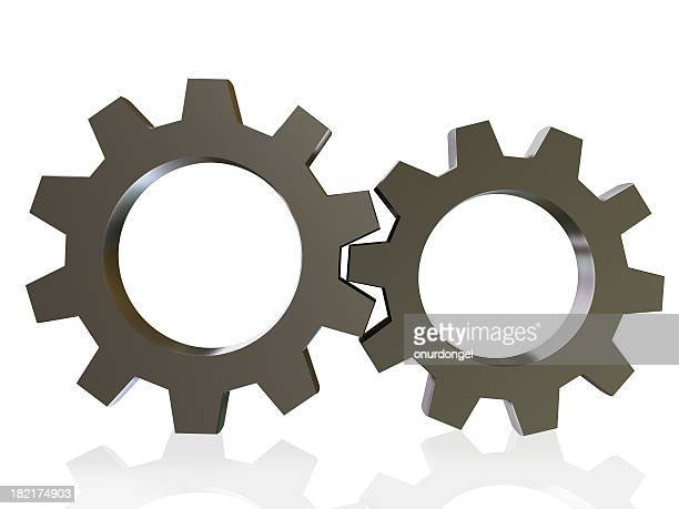 Two three dimension gears interlocking