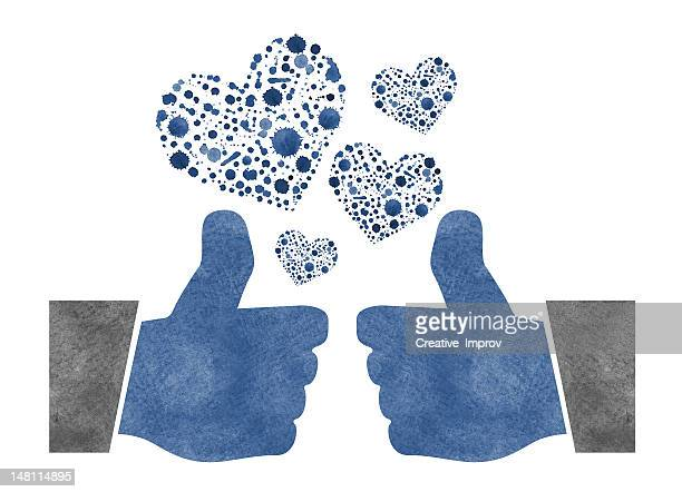 two thumbs up with watercolor hearts - bewondering stockfoto's en -beelden