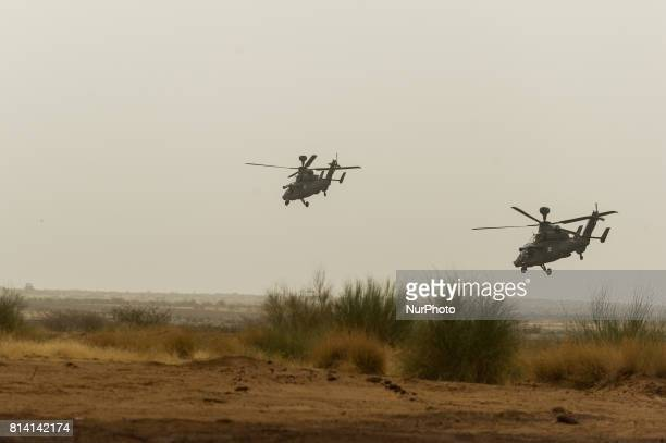 Two Tiger helicopters fly over the Castor military camp in Gao Mali 19 May 2017 Members of the German armed forces have been deployed to the region...