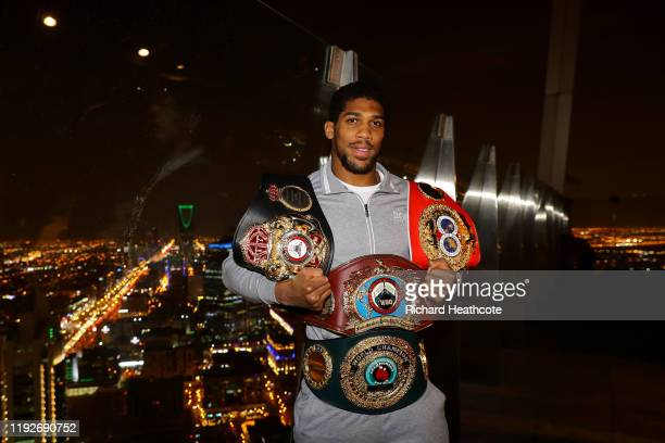 Two time Heavyweight Champion of the World, Anthony Joshua, poses for pictures overlooking Riyadh after the IBF, WBA, WBO & IBO World Heavyweight...