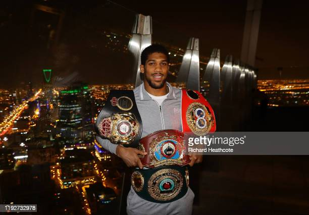 Two time Heavyweight Champion of the World Anthony Joshua poses for pictures overlooking Riyadh after the IBF WBA WBO IBO World Heavyweight Title...
