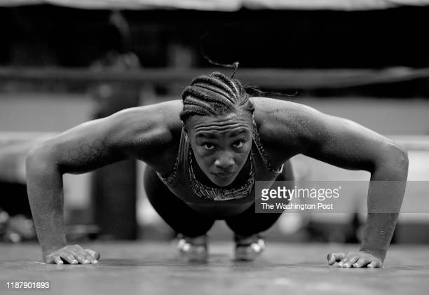 Two time Olympic Gold medalist Claressa Shields works out for the media at Detroit's Downtown Boxing Gym on October 2 2019