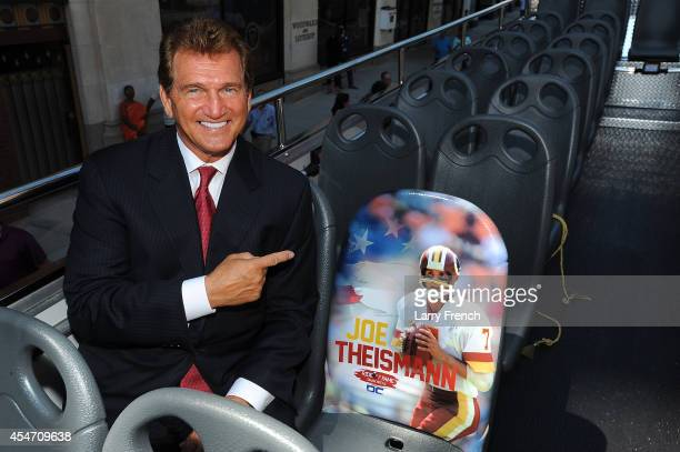Two - Time Pro Bowler and Super Bowl XVII Winner Joe Theismann is honored by the Ride of Fame with his own bus and seat on September 5, 2014 in...