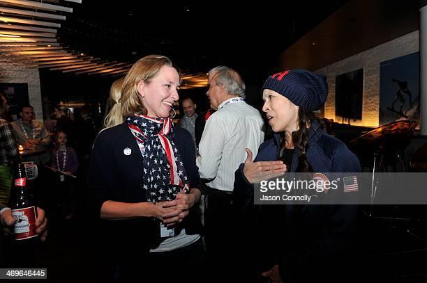 Two time US Winter Olympian Tia Babilonia talks with Susan Watson of Atlanta Georgia during the USOC's Team USA Club Night at Bol February 15 in Vail...