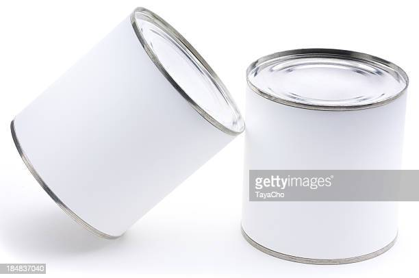 Two tin cans with blank labels isolated