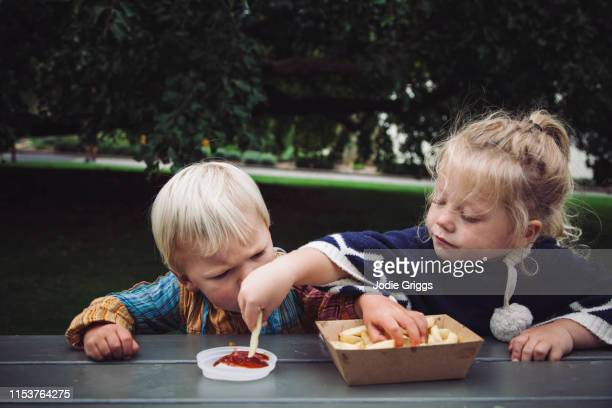 two toddlers sharing hot chips and tomato sauce at a picnic in the park - 分かち合い ストックフォトと画像