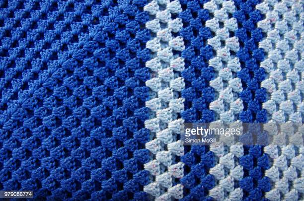Two tone blue crotcheted blanket