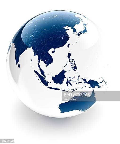 Two Tone Globe Asia and Australia