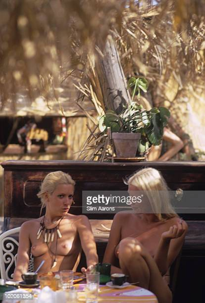 Two topless ladies in SaintTropez on the French Riviera August 1971