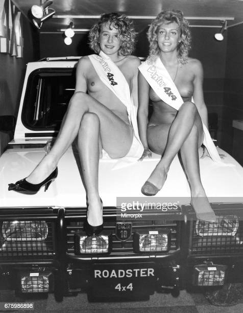 Two topless models sit on the bonnet of the Dacia 10 Roadster 4x4 at the 1984 Motor Show 17th October 1984