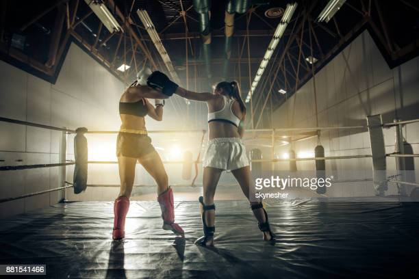 two tough women fighting on a boxing match in health club. - women's boxing stock pictures, royalty-free photos & images