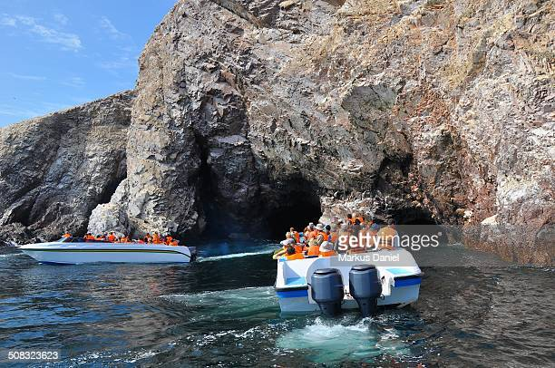 Two Tourist Motor Boats at Ballestas Islands, Peru