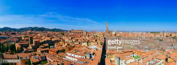 two towers bologna italy aerial cityscape - bologna stock pictures, royalty-free photos & images
