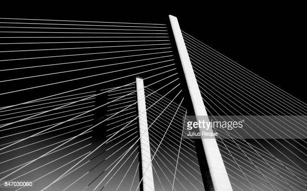 Two towers of a cable stayed bridge