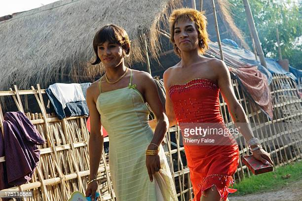 Two transvestites walk on a street at the Taungbyon nat festival Every year in August hundreds of thousands of people from all over Myanmar gather...