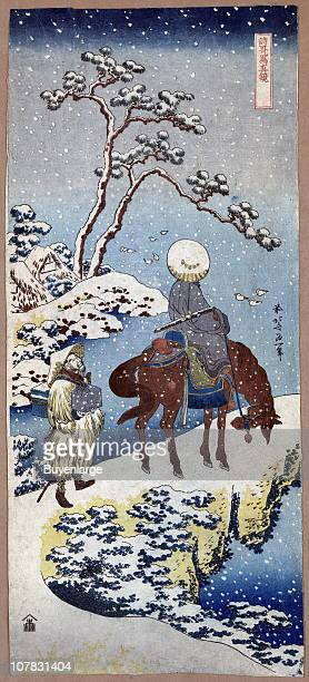Two travelers one on horseback on a precipice or natural bridge during a snowstorm