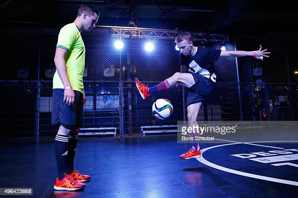Two trick footballers perform at the adidas presentation of the new DFB home jersey for UEFA EURO 2016 at The Base on November 9 2015 in Berlin...