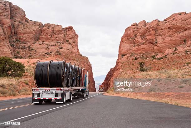 Trucks Crossing a Mountain Pass
