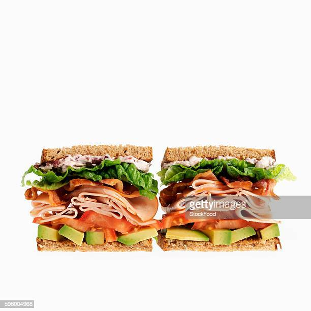Two Turkey Sandwiches with Bacon, Tomato and Avocado