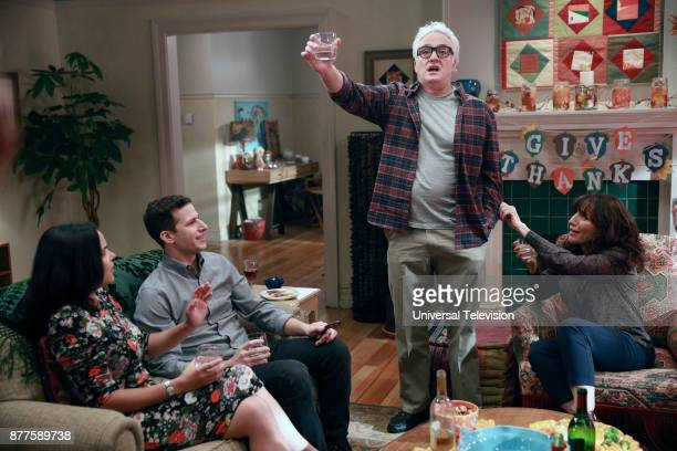 NINE 'Two Turkeys' Episode 508 Pictured Melissa Fumero as Amy Santiago Andy Samberg as Jake Peralta Bradley Whitford as Roger Peralta Katey Sagal as...