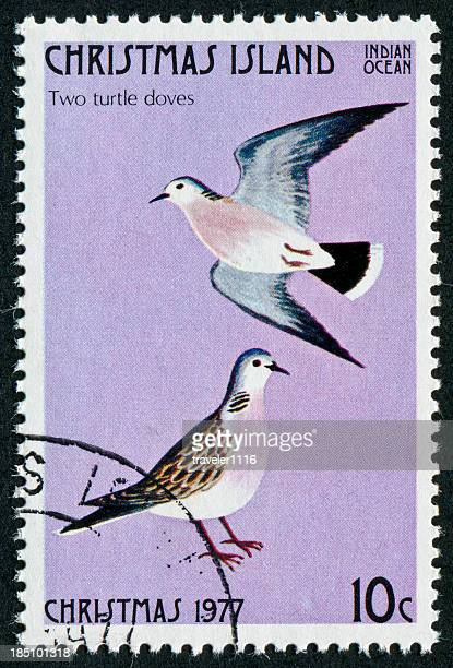 two turtle doves stamp - 12 days of christmas stock pictures, royalty-free photos & images