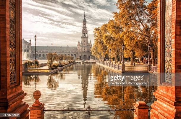 two twin towers of plaza de españa - seville stock pictures, royalty-free photos & images