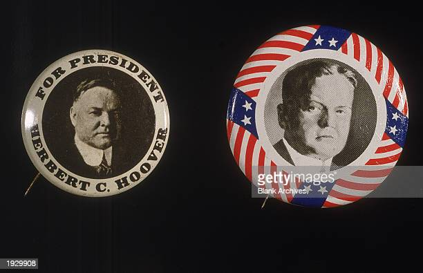 Two United States presidential campaign buttons for Republican candidate Herbert C. Hoover, circa 1928.
