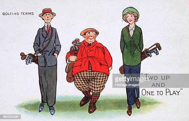 Two up and one to play Golfing cartoon c1920s