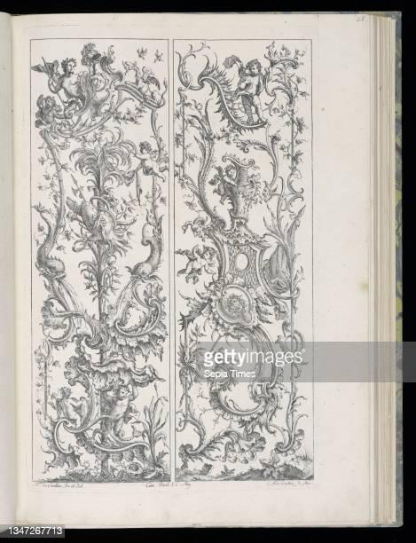 Two Upright Panels, Livre de Paneaux irréguliers , François de Cuvilliés the Elder, Belgian, active Germany, 1695 - 1768, Carl Albert von Lespilliez,...