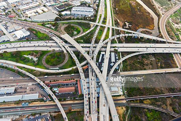 Two Urban Freeways Connecting in Southern California