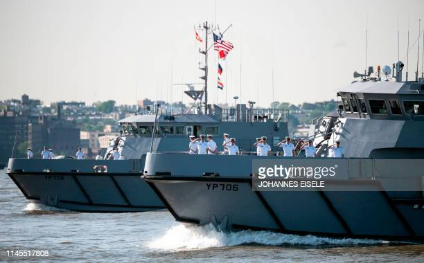 Two US Navy training vessels take part in the parade for Fleet Week 2019 on May 22 2019 in New York