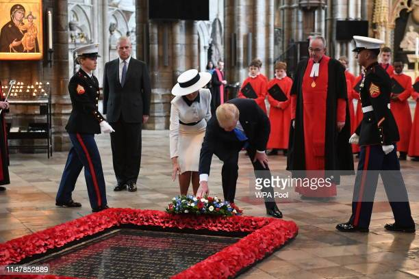 Two US service personnel prepare for the arrival of US President Donald Trump who will place a wreath on the Grave of the Unknown Warrior during a...