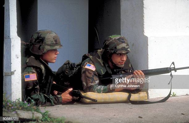 Two US soldiers on balcony of bldg after US invasion occupation to unseat ldr Gen Manuel Antonio Noriega