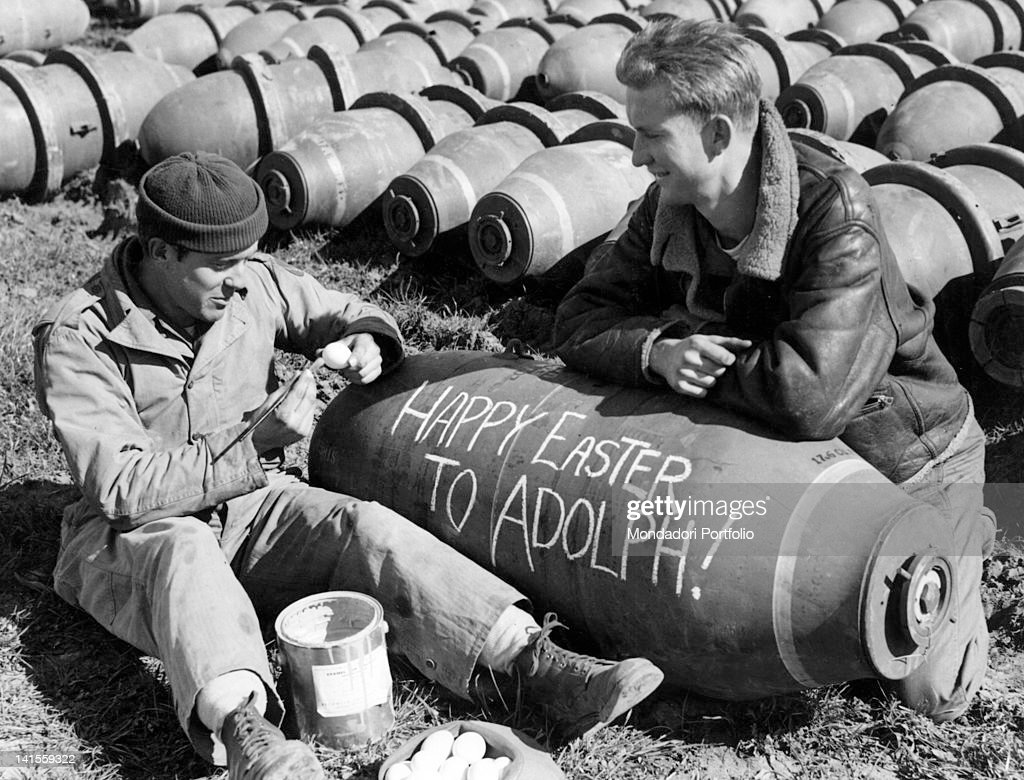 Funny writing on us bombs pictures getty images two us soldiers writing funny easter greetings to hitler on a bomb southern italy kristyandbryce Gallery