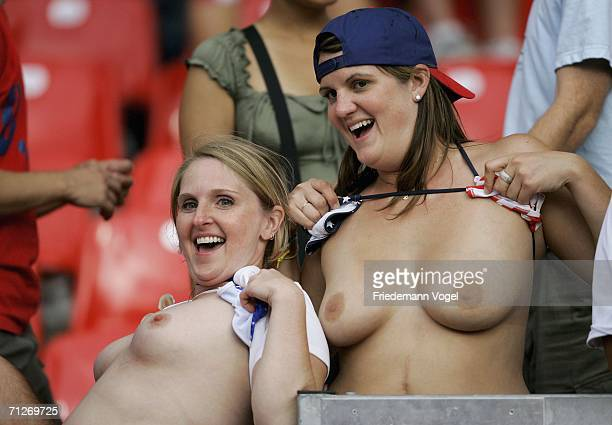 Two USA fansexpose their breasts during the FIFA World Cup Germany 2006 match between Ghana and USA played at the Stadium Nuernberg on June 22 2006...