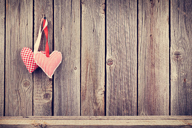 Background Illustration Two Valentines Day Hearts On Rustic Wooden Wall