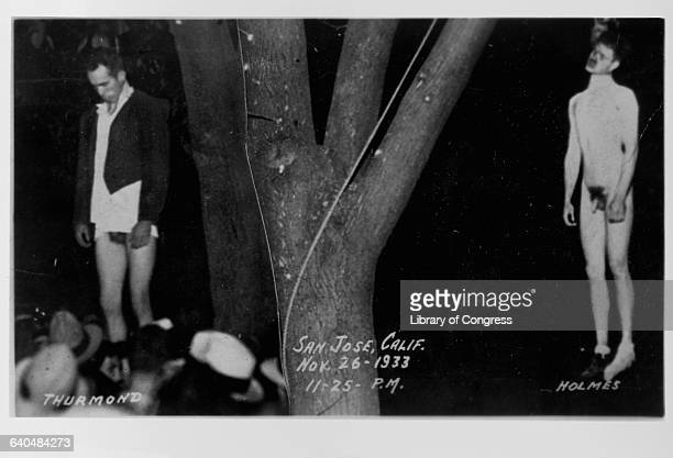 Two victims of a lynching Holmes and Thurmond hang from a tree on November 26 1933 San Jose California