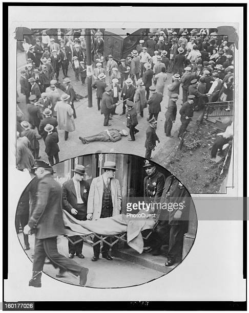 Two views of the body of gangster Patrick 'Paddy' Murray Chicago Illinois October 11 1926 The top one is an elevated view of the crime scene a...