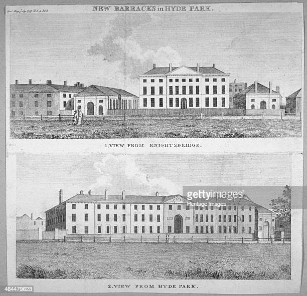 Two views of the new barracks in Hyde Park, London, 1797. Above, the view from Knightsbridge; below, the view from Hyde Park.