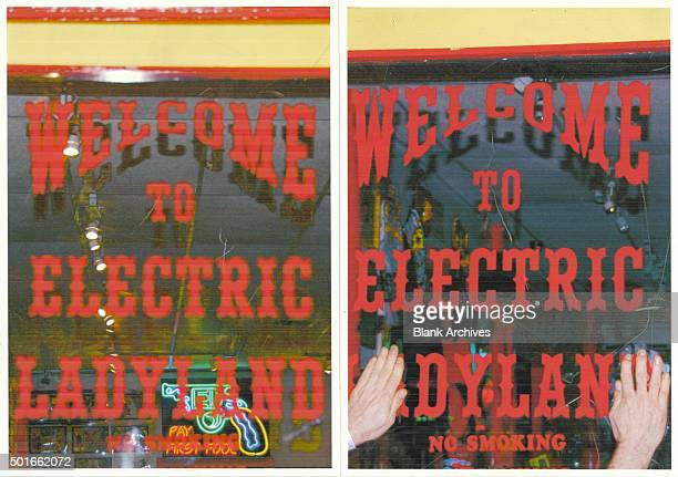 Two views of the sign for the Electric Ladyland tattoo parlor New Orleans Louisiana 2012 On the left the sign reads 'Welcome to Electric Ladyland'...