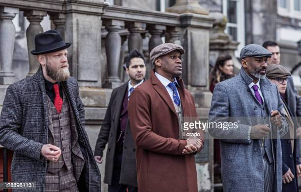 two vintage black gangster man in an old city - african american culture stock pictures, royalty-free photos & images