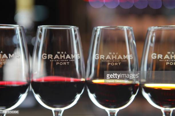 Two vintage ports at left and two Single Harvest Aged Tawny ports are served in the Private Vintage tasting room at W J Graham's 1890 Lodge in Vila...