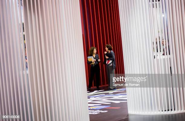 Two visitors walk through the `Paths« stand at FITUR International Tourism Fair 2018 at Ifema on January 17 2018 in Madrid Spain Prime Minister...