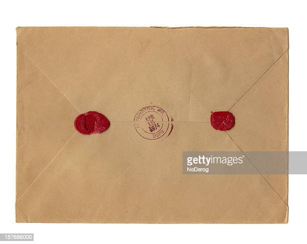 two wax seals and washington postmark on vintage brown envelope - airtight stock photos and pictures